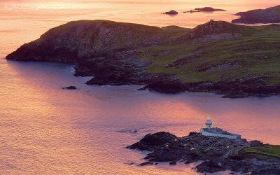 Meditative Sunrise Landscape with view on Valentia Lighthouse, County Kerry, Republic of Ireland.